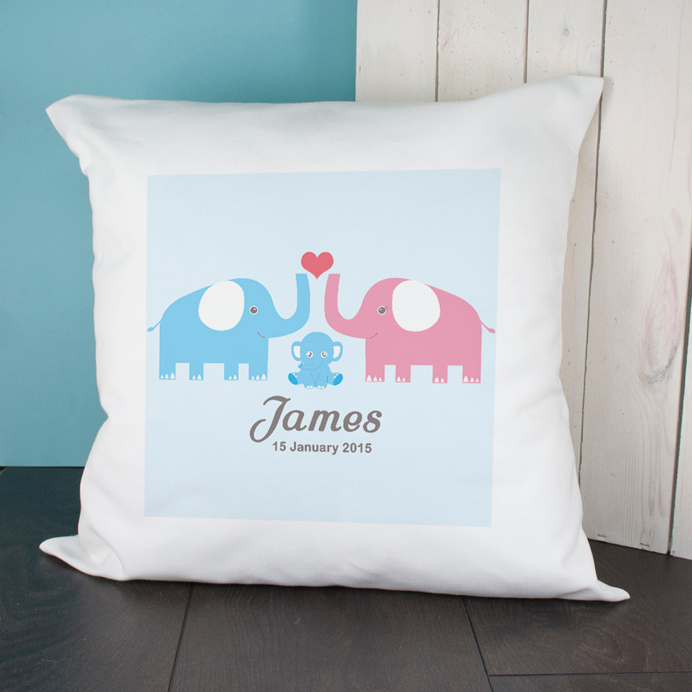Baby Cushion Cover - Elephants (Blue) - treat-republic