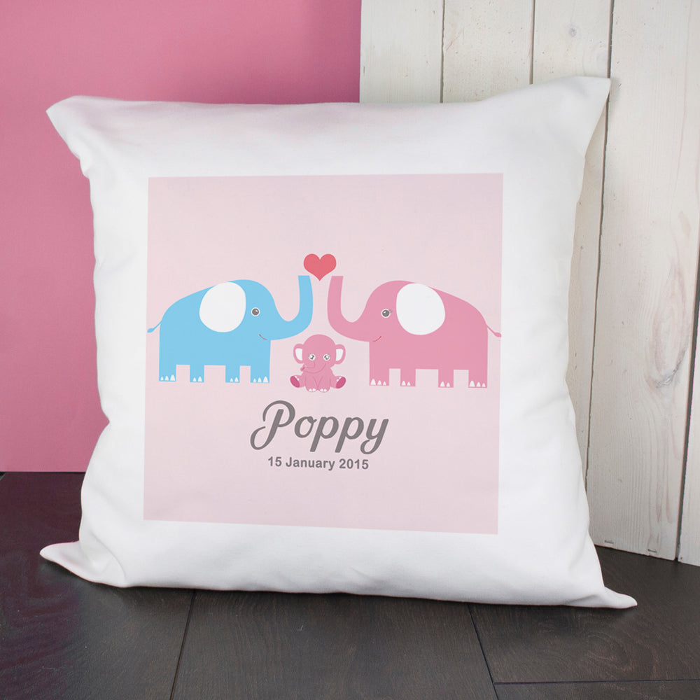 Baby Cushion Cover - Elephants (Pink) - treat-republic