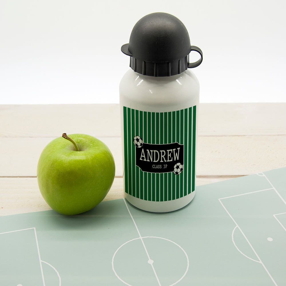 Boys Football Striped Personalised Water Bottle - treat-republic