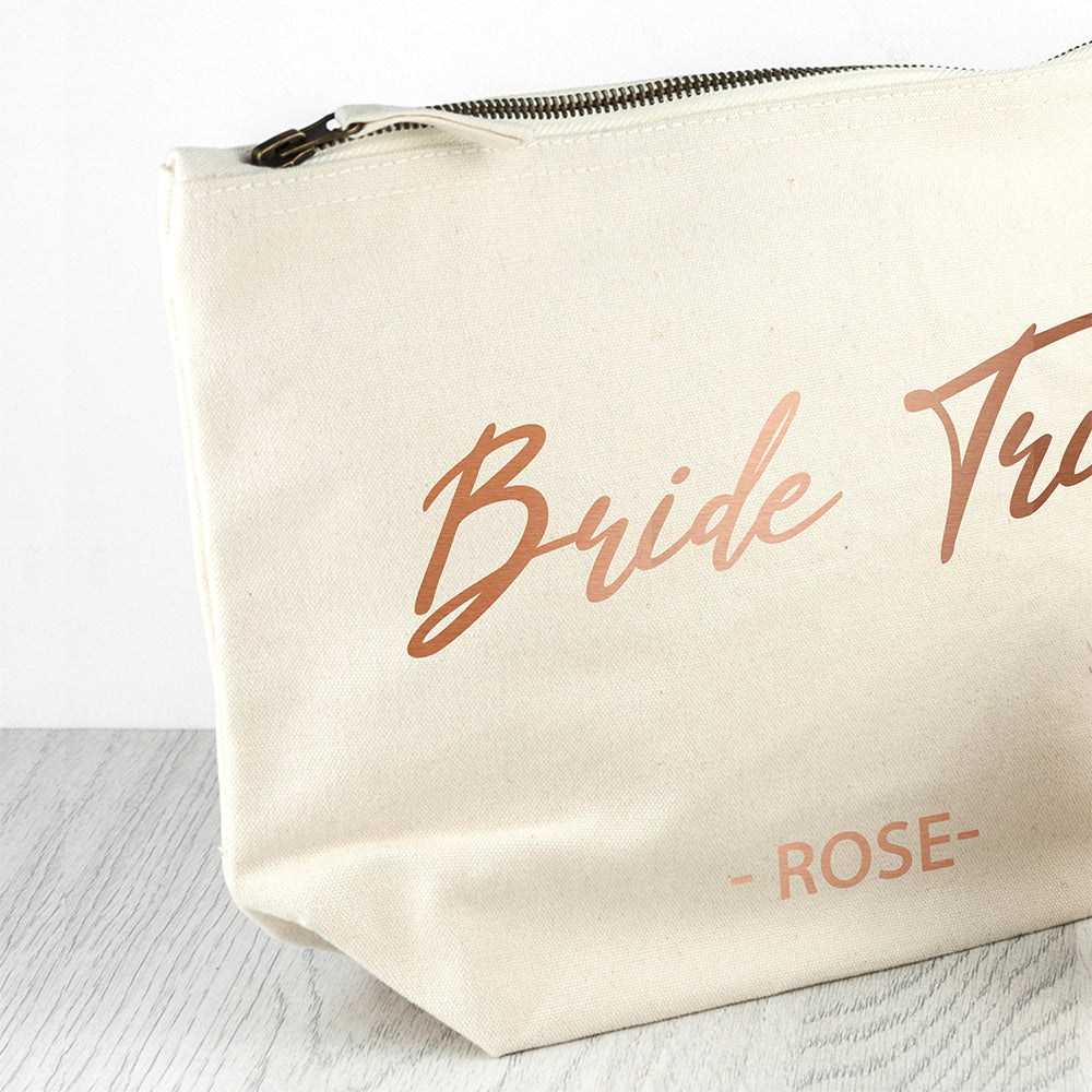 Bride Tribe Personalised Cosmetic Canvas Bag In Rose Gold - treat-republic