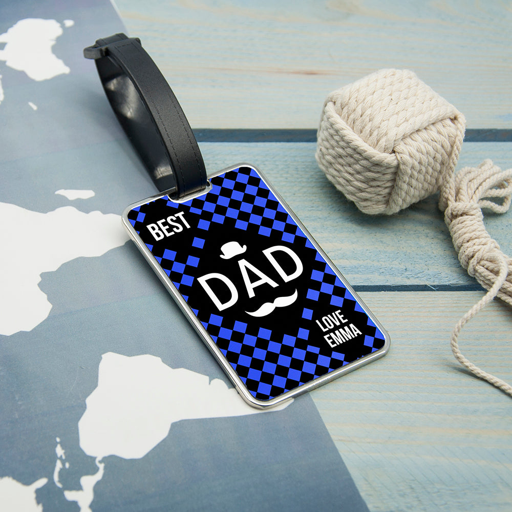 Chequered World's Best Dad Luggage Tag - treat-republic