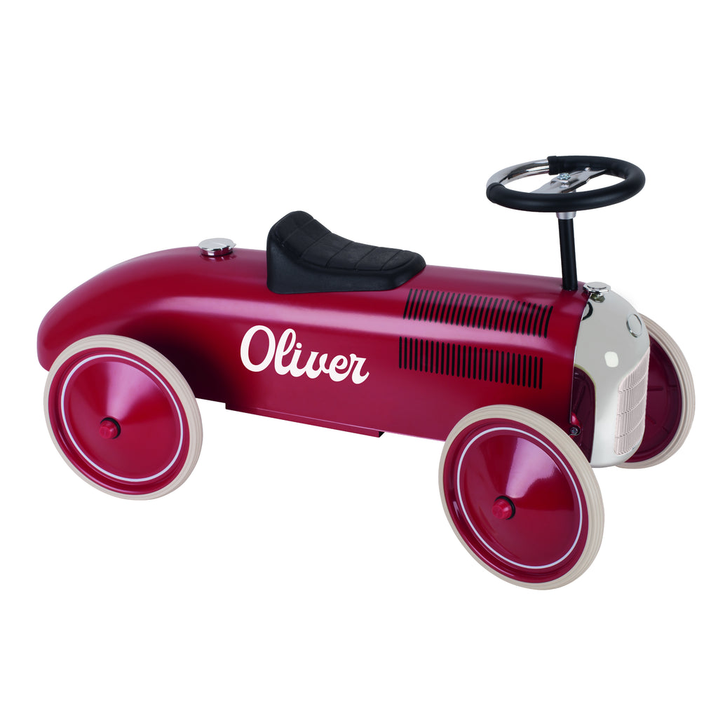 Personalised Cherry Red Vintage Style Ride On Car for Kids - treat-republic