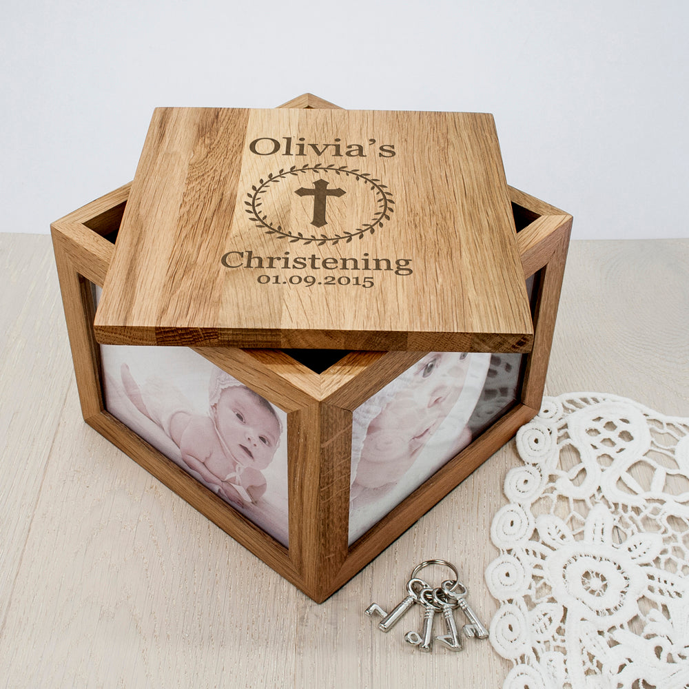 Christening Cross Oak Photo Keepsake Box with Leaf Frame - treat-republic