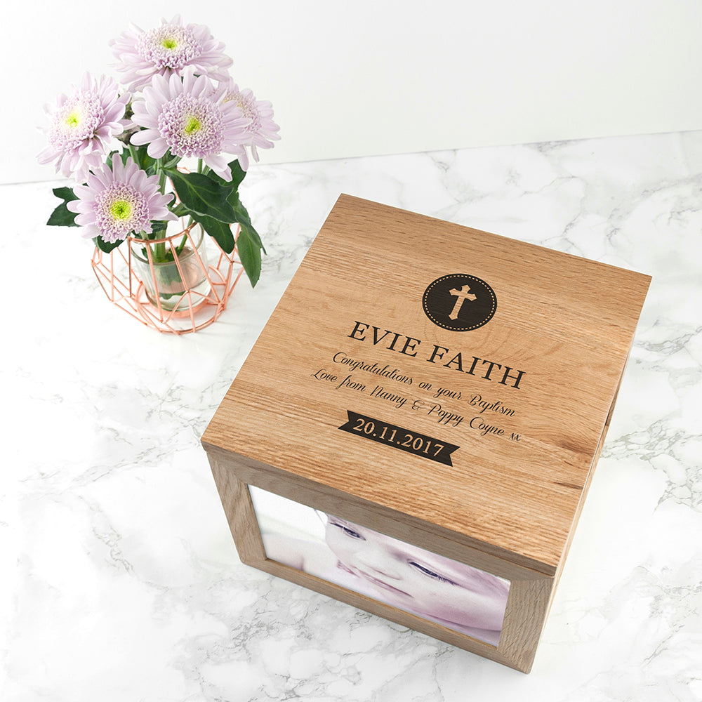 Christening Oak Photo Keepsake Box - treat-republic