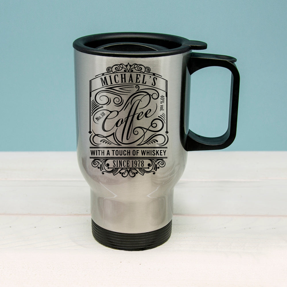 Coffee With a Touch of Whiskey Travel Mug - treat-republic
