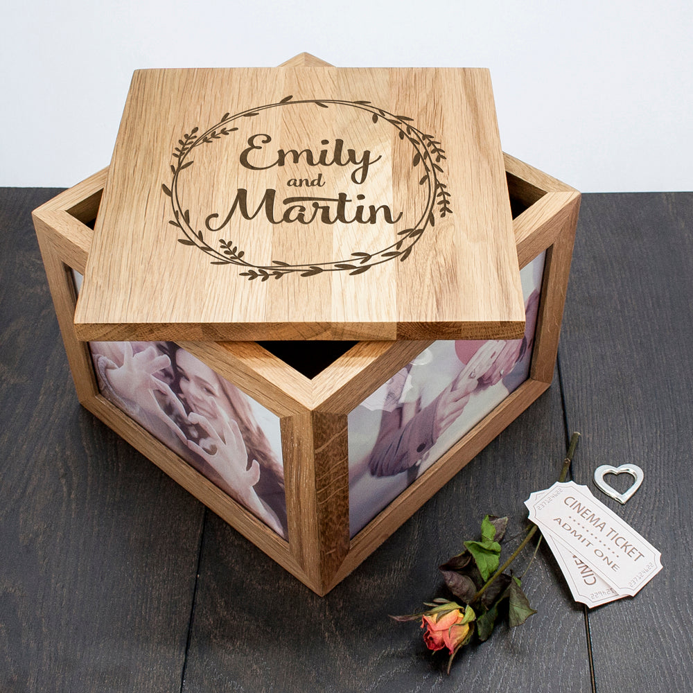 Couple's Oak Photo Keepsake Box With Wreath Design - treat-republic