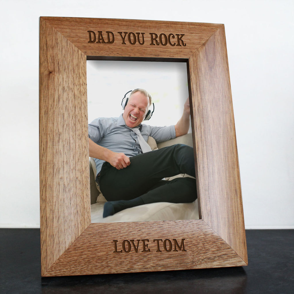 Dad You Rock Engraved Photo Frame - treat-republic