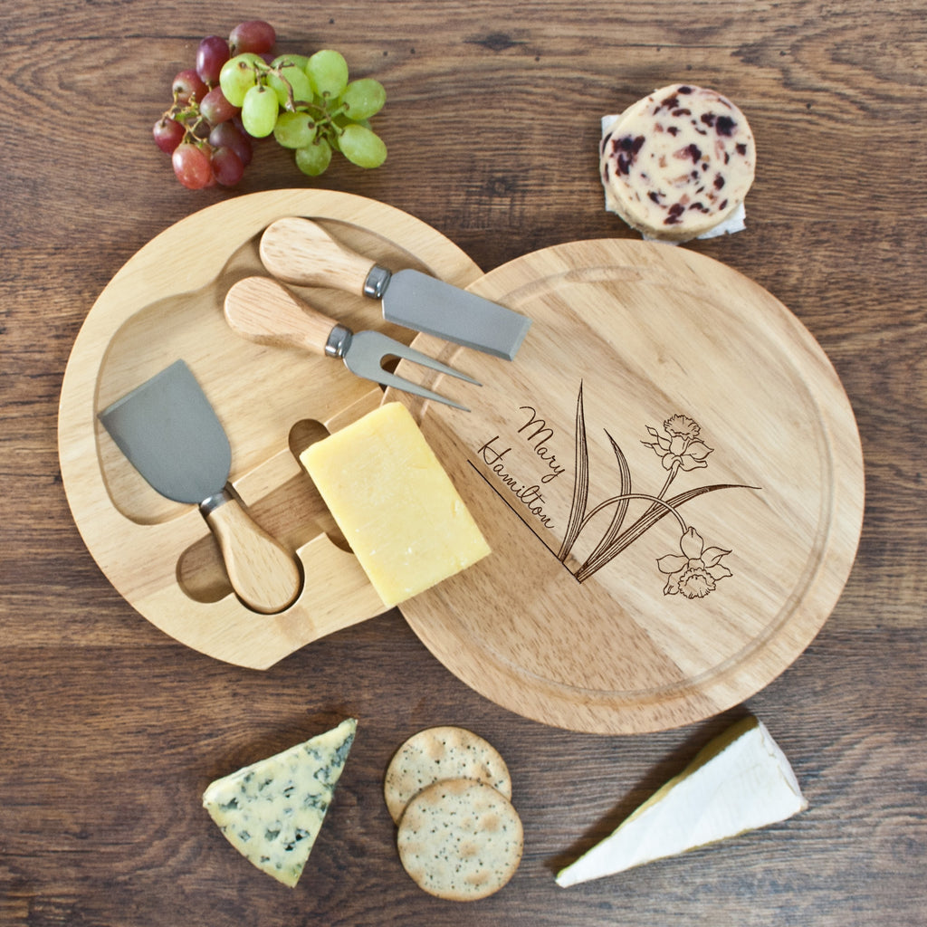 Daffodil Flowers Round Cheese Board - treat-republic