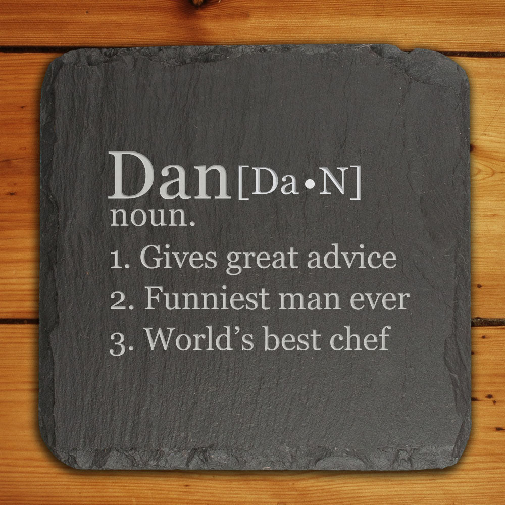 Definition of Dad Square Slate Keepsake - treat-republic