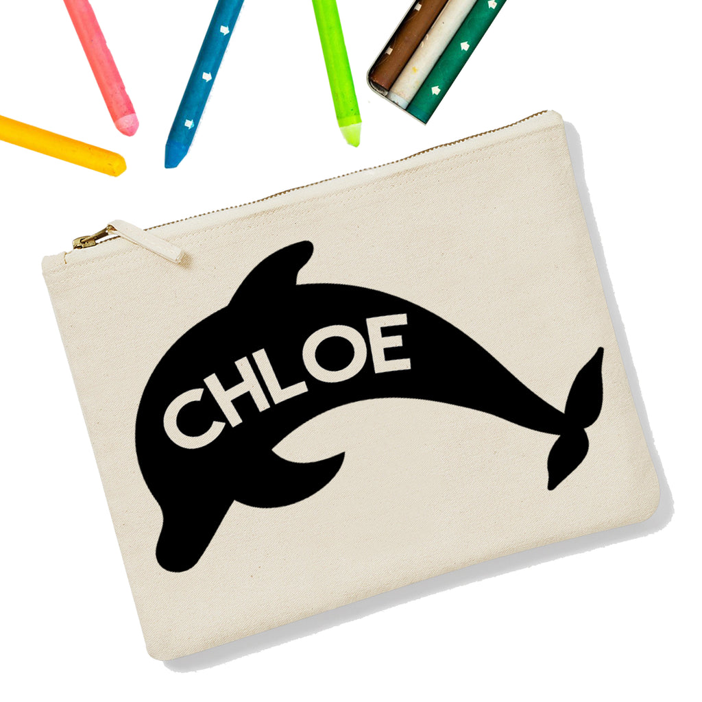 Dolphin Personalised Zipup Pencil Case - treat-republic