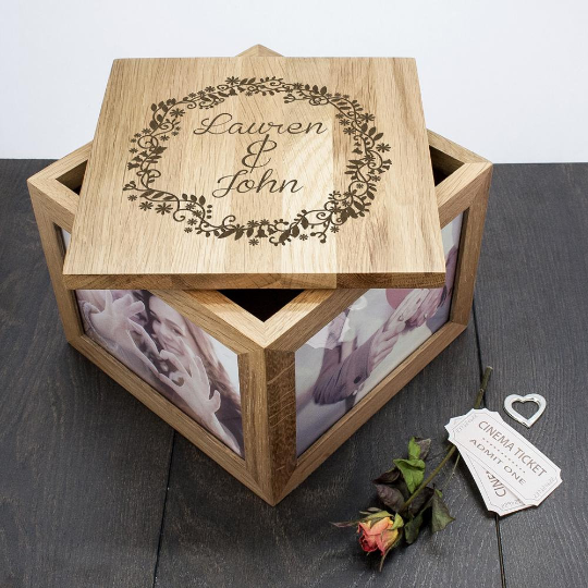 Personalised Couples' Oak Photo Keepsake Box with Floral Frame