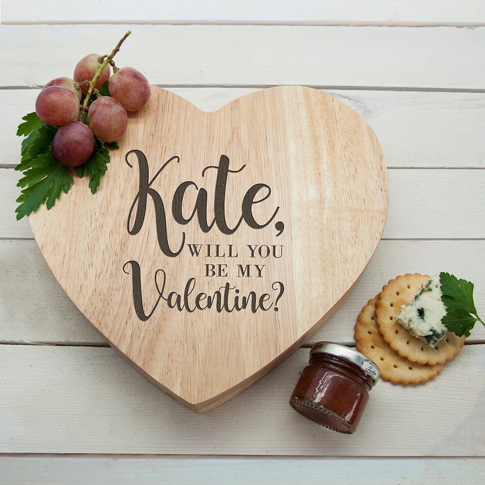Engraved Be My Valentine Heart Cheese Board - treat-republic