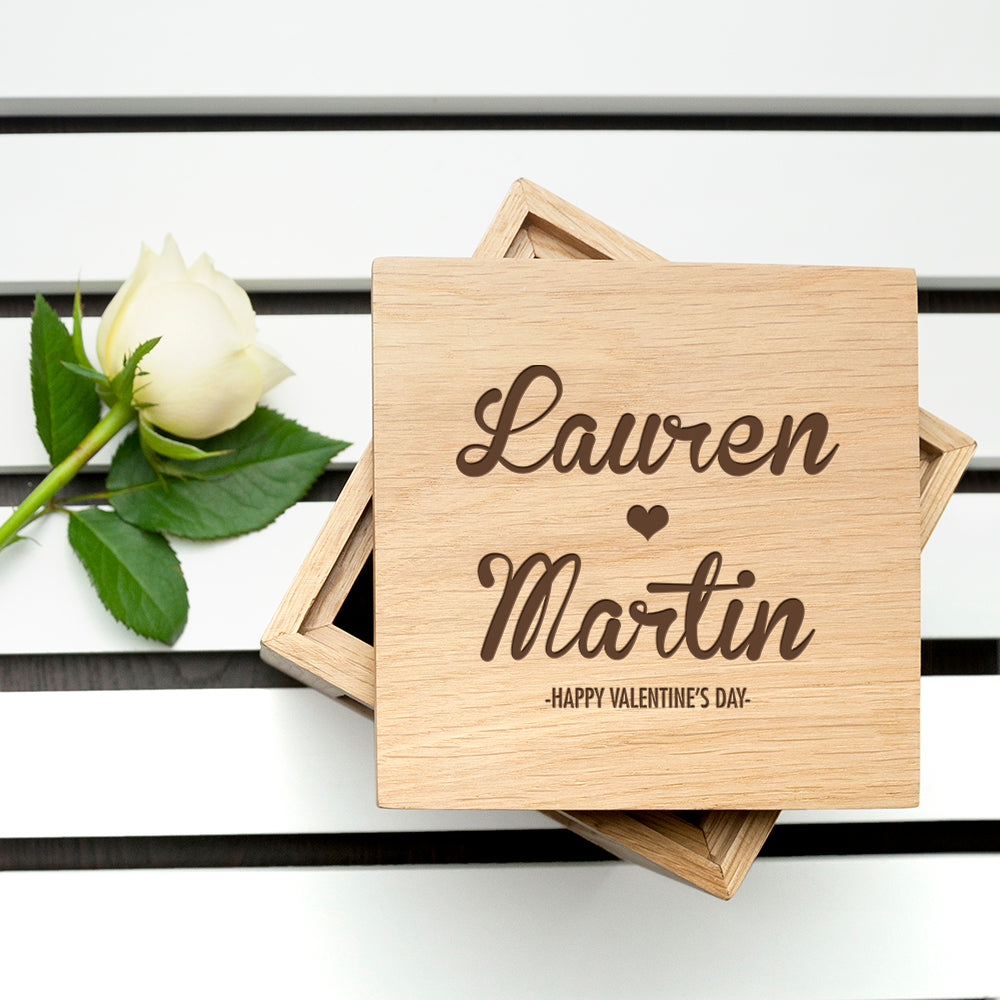 Personalised Couple's Names Oak Photo Cube - treat-republic