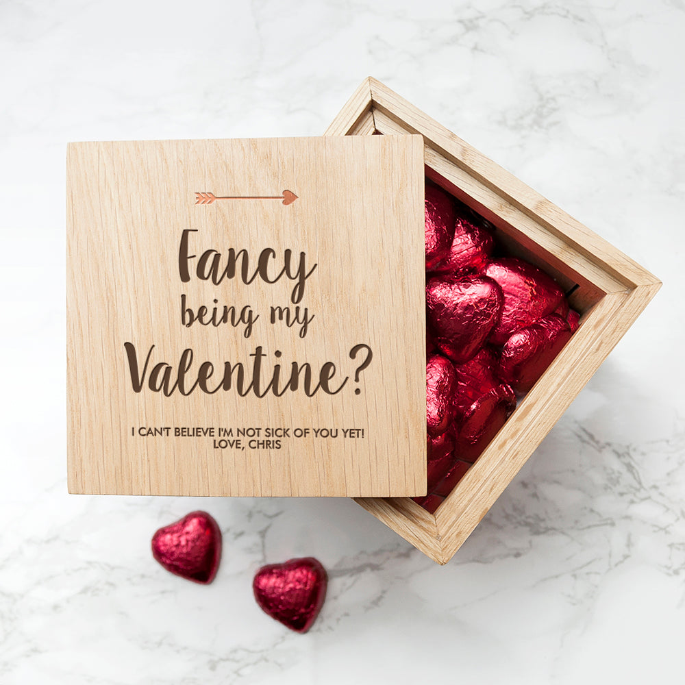 Personalised Fancy Being My Valentine? Oak Photo Cube - treat-republic