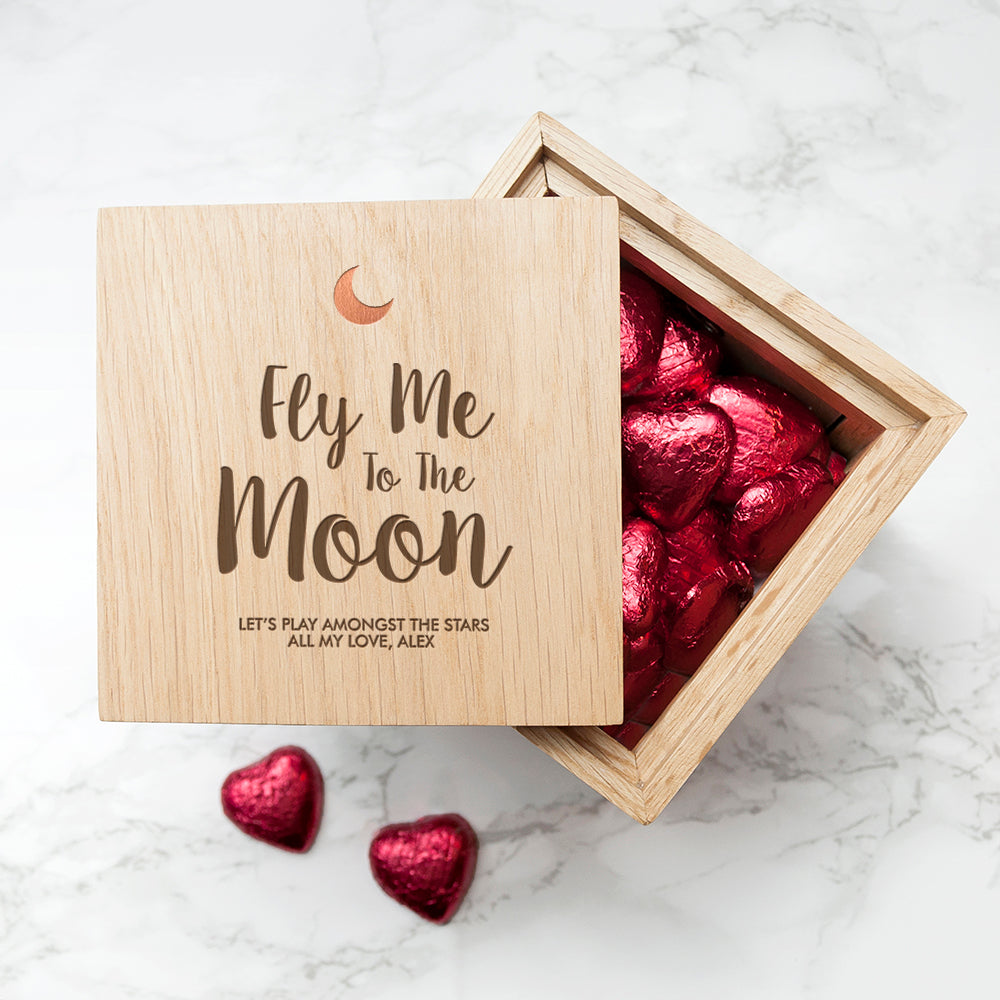 Personalised Fly Me To The Moon Oak Photo Cube