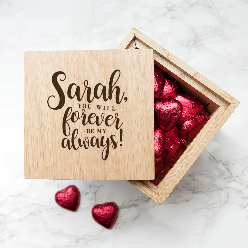 Personalised Forever My Always Oak Photo Cube - treat-republic