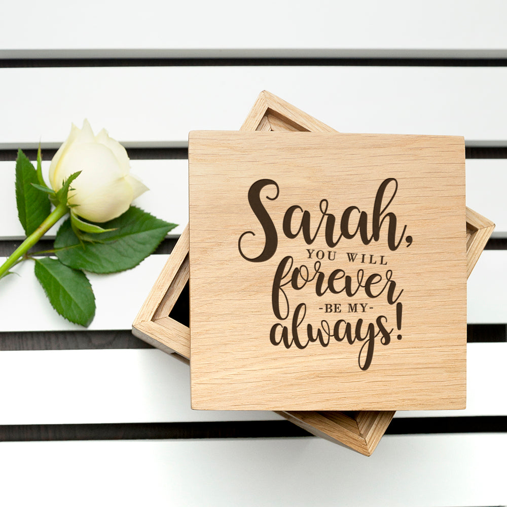 Personalised Forever My Always Oak Photo Cube