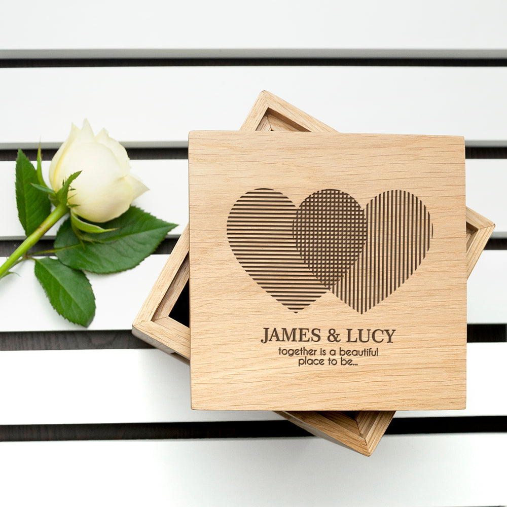 Personalised Heart Venn Diagram Oak  Photo Cube