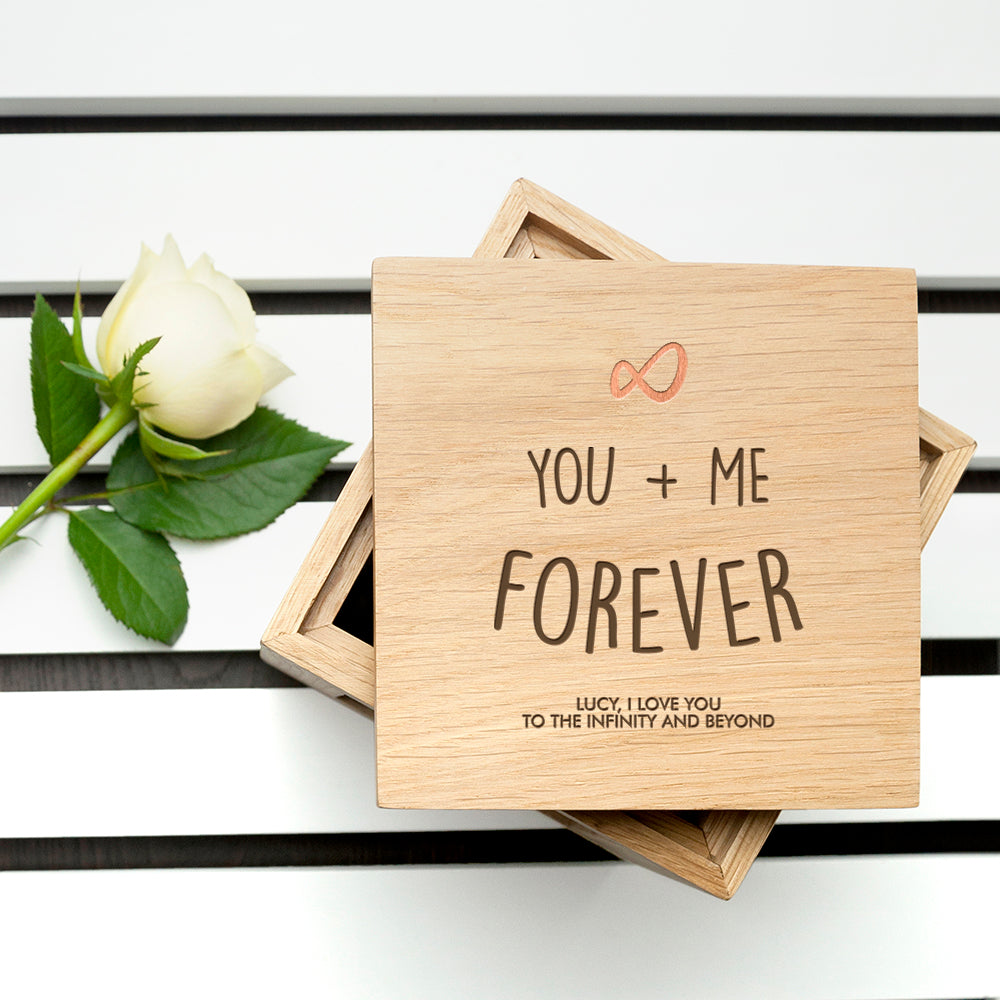 Personalised Infinite Love Oak Photo Cube - treat-republic