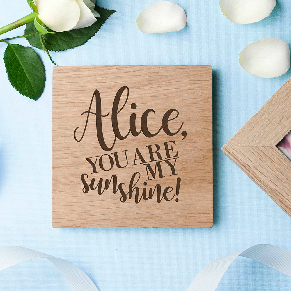 Personalised My Sunshine Oak Photo Cube