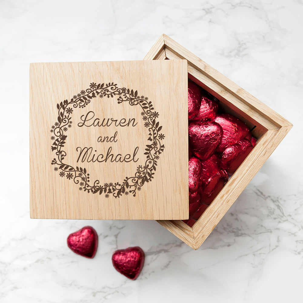 Personalised Romantic Floral Frame Oak Photo Cube