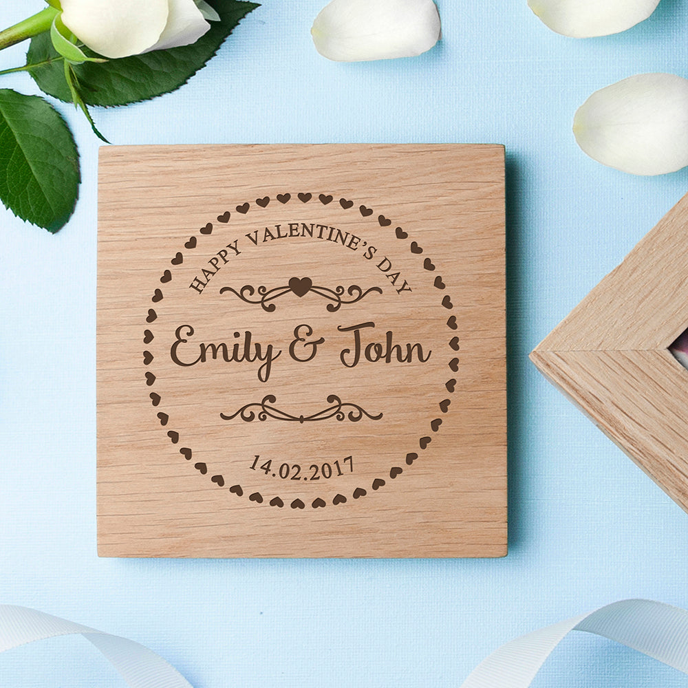 Personalised Romantic Heart Frame Oak Photo Cube