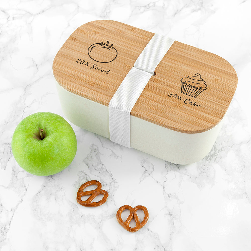 Engraved Salad vs Cake Bamboo Lunch Box - treat-republic