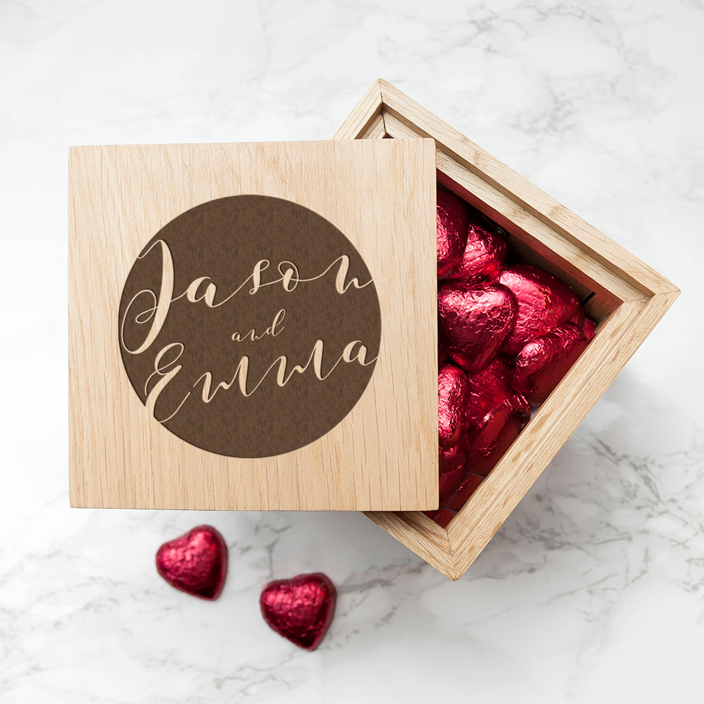 Personalised Typography Oak Photo Cube