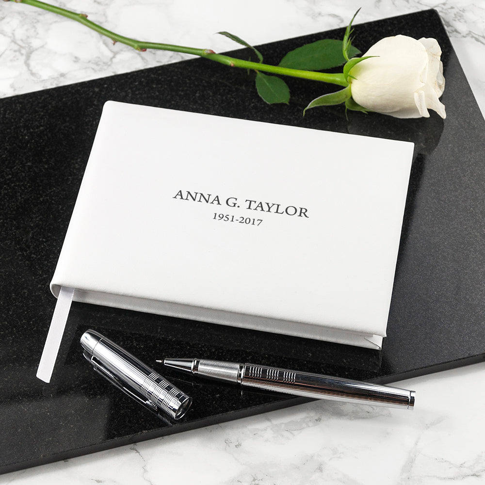 Engraved White Leather Memoriam Book - treat-republic