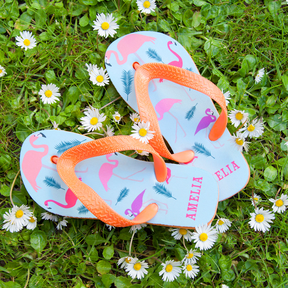 Fabulous Flamingos Child's Personalised Flop Flops
