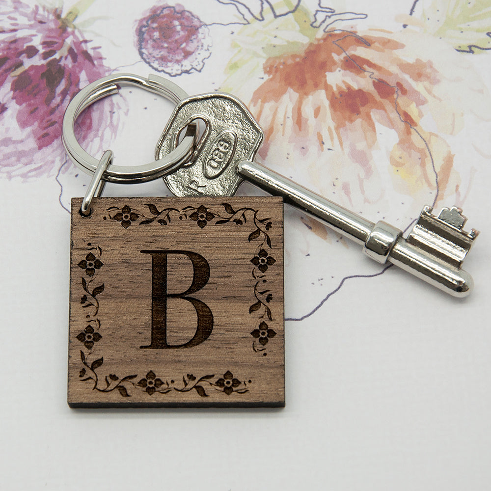 Floral Frame Initial Wooden Keyring - treat-republic
