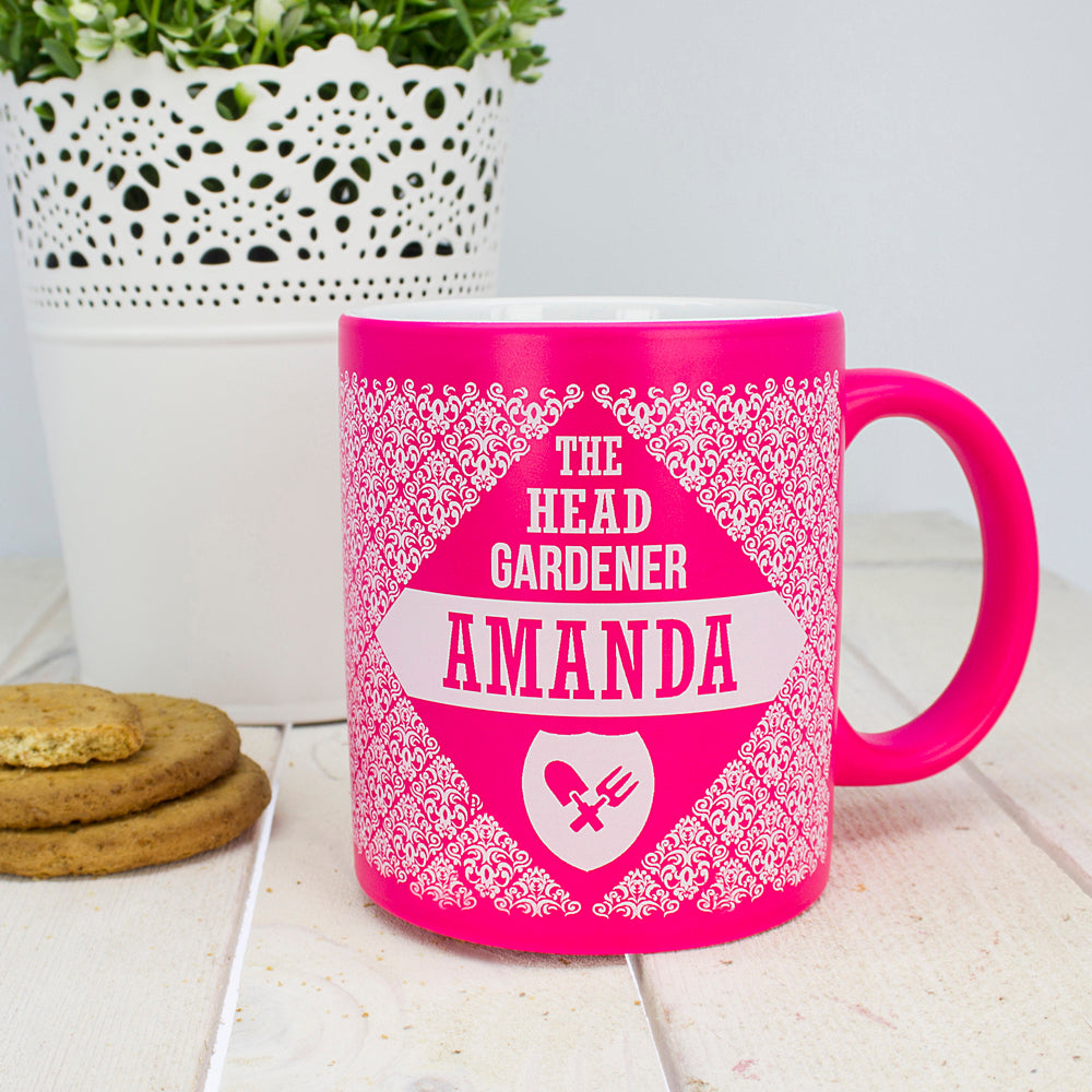 Floral Patterned Head Gardener Coloured Mug