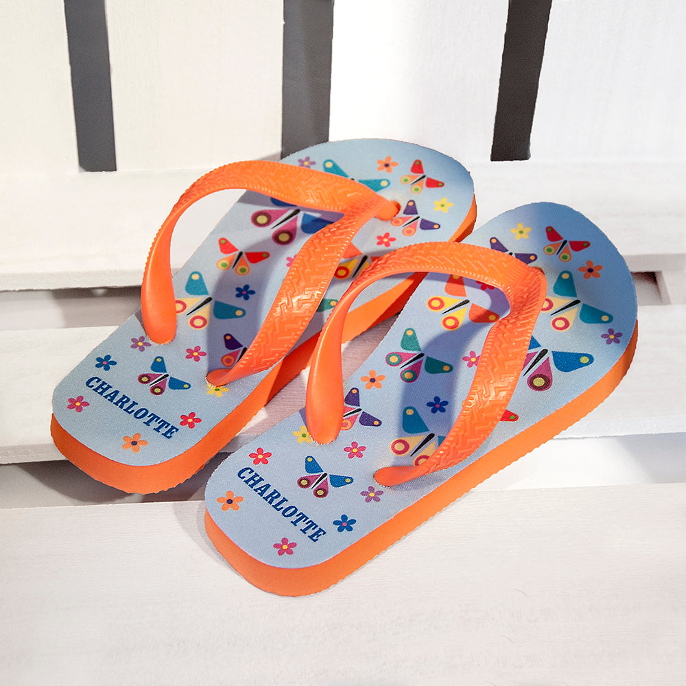 Fluttering Butterfly Child's Personalised Flip Flops - treat-republic