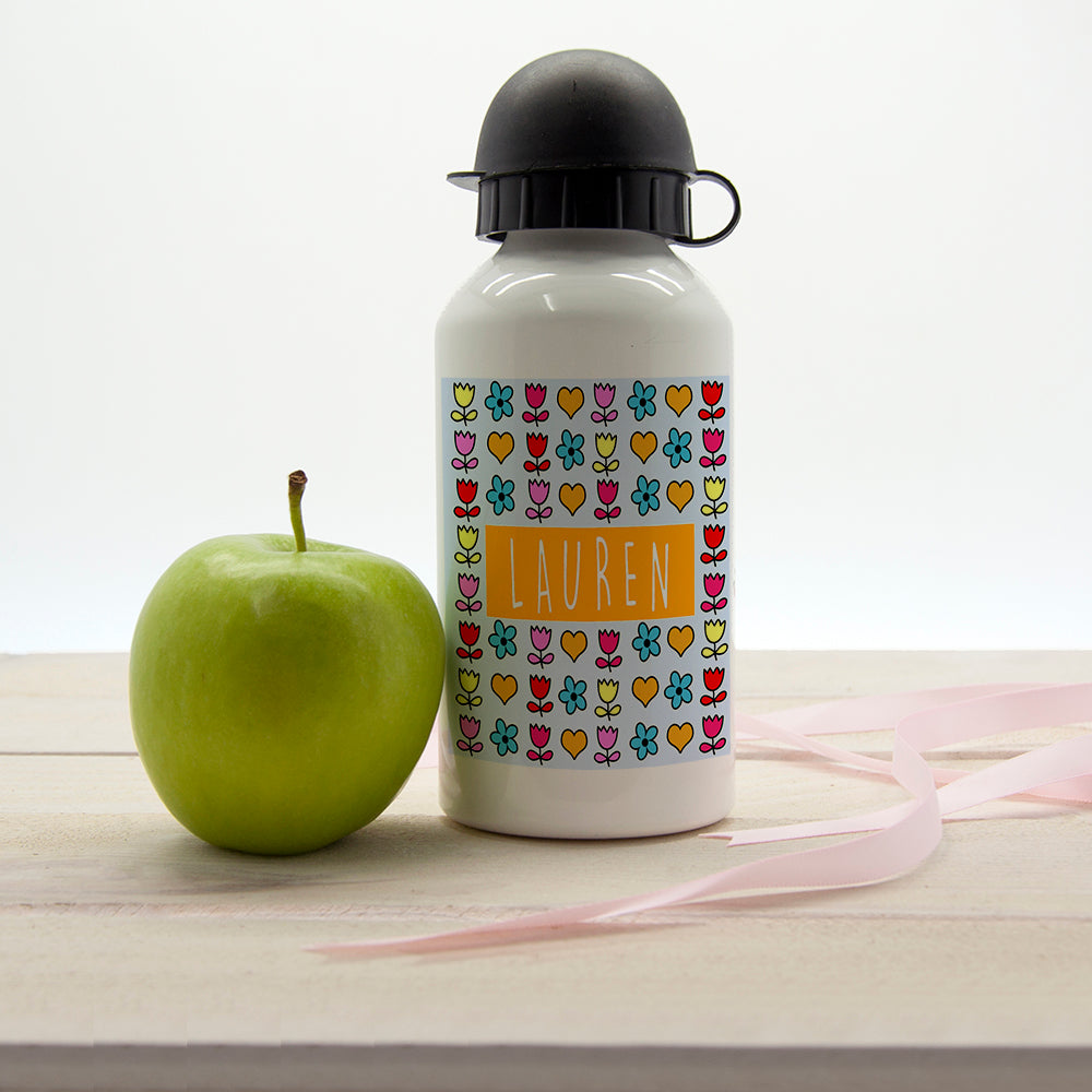 Girls Dainty Floral and Heart Personalised Water Bottle - treat-republic