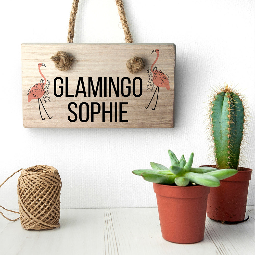 Glamingo Wooden Hanging Sign - treat-republic