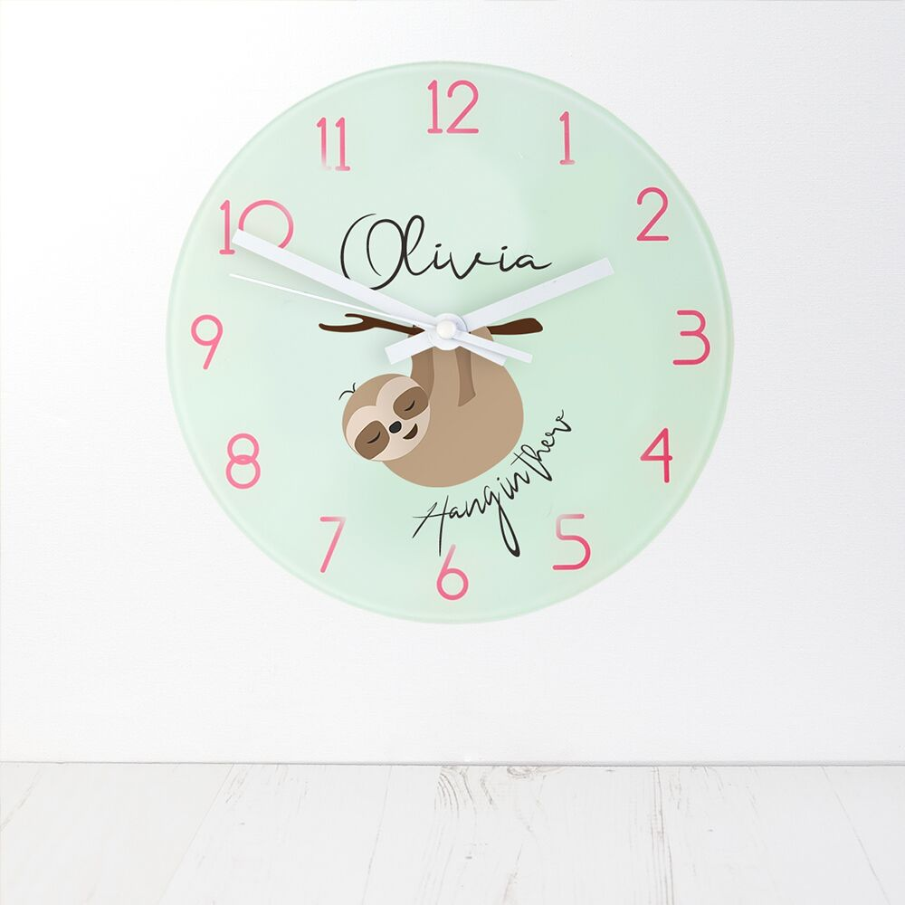Personalised Sloth Hang In There Wall Clock - treat-republic