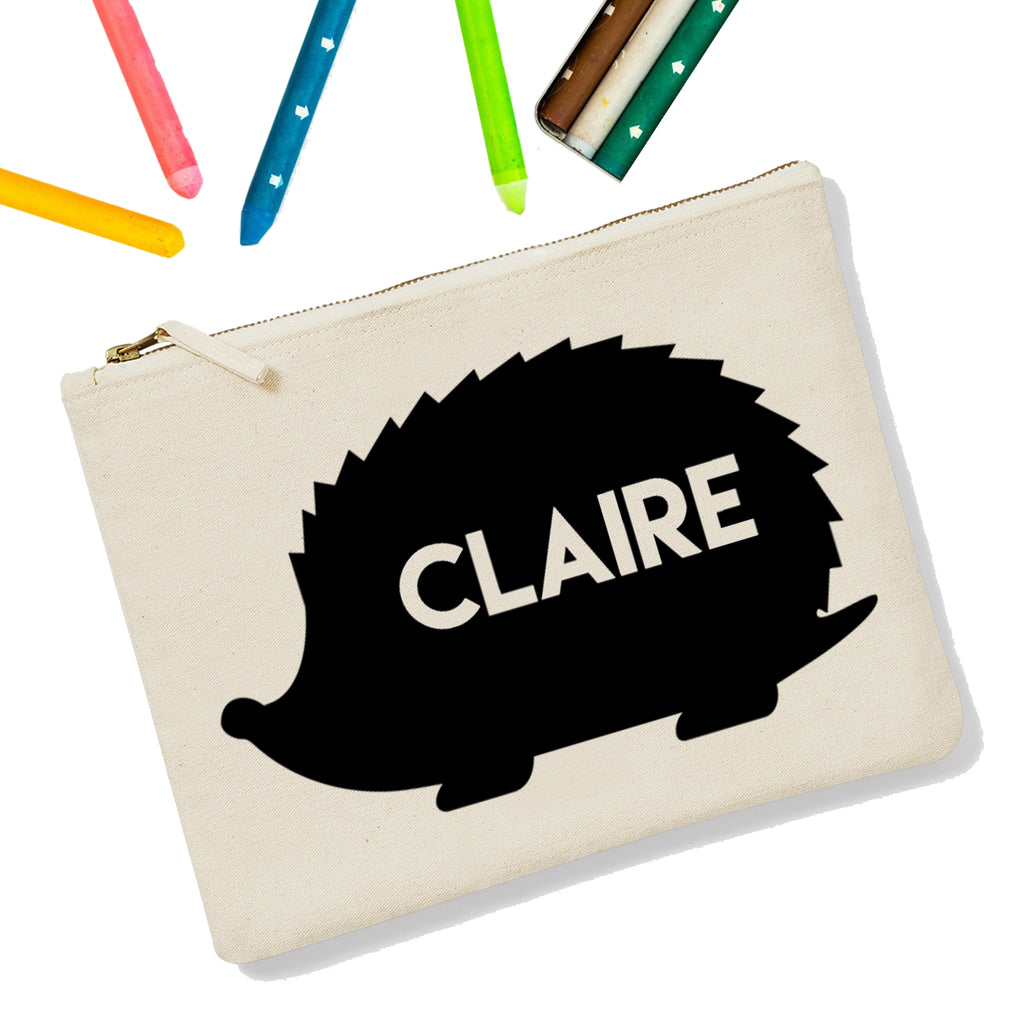 Hedgehog Personalised Zipup Pencil Case - treat-republic
