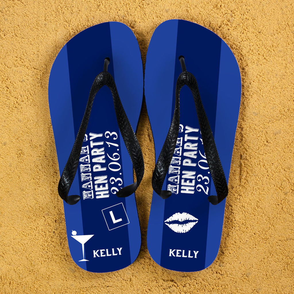 Hen Party Personalised Flip Flops in Dark Blue - treat-republic