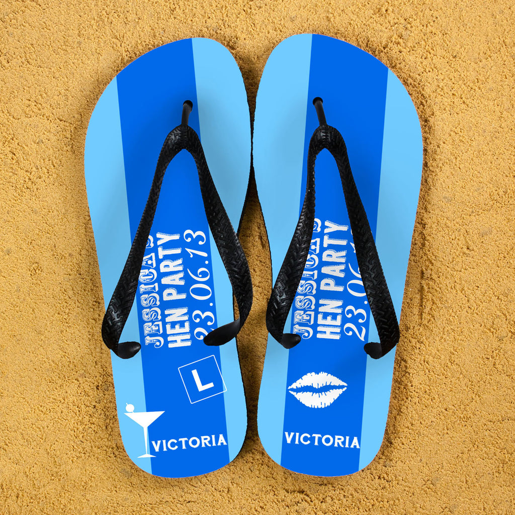 Hen Party Personalised Flip Flops in Light Blue - treat-republic