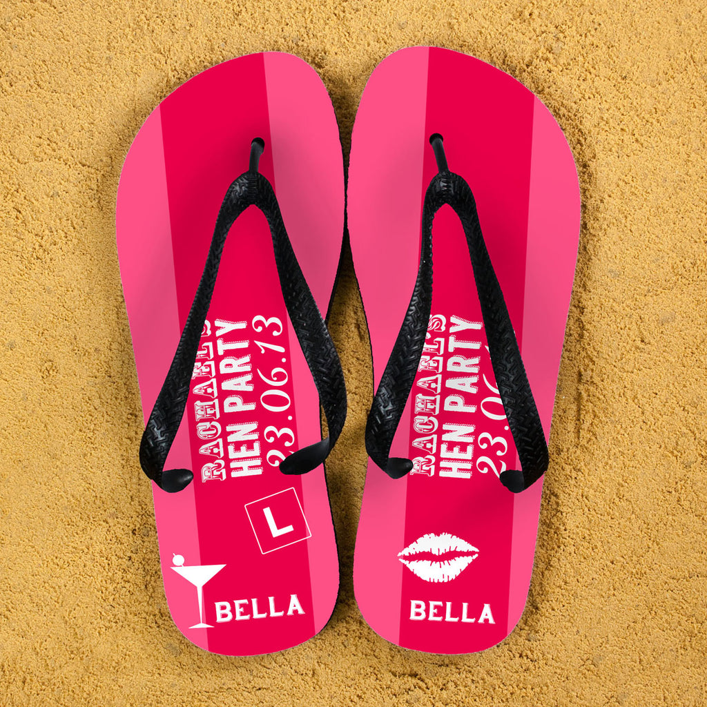 Hen Party Personalised Flip Flops in Pink - treat-republic