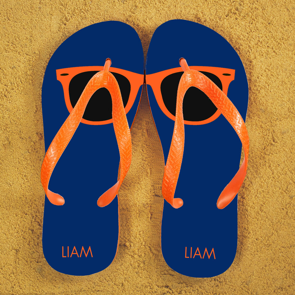Holiday Style Personalised Flip Flops in Blue and Orange - treat-republic