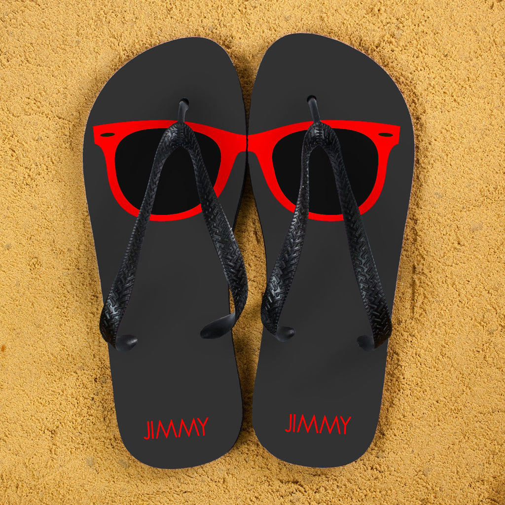Holiday Style Personalised Flip Flops in Grey and Red - treat-republic