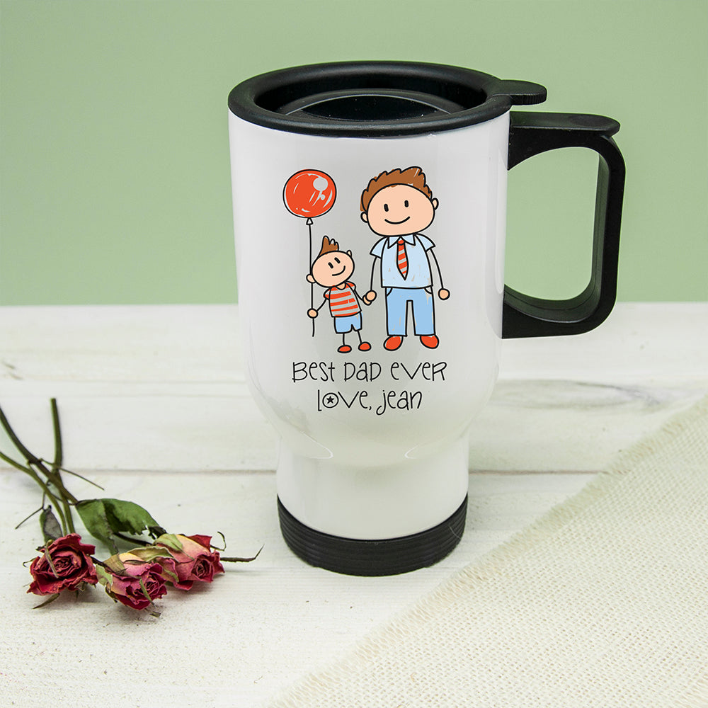 I Love My Dad Personalised Kid's Artwork Travel Mug - treat-republic