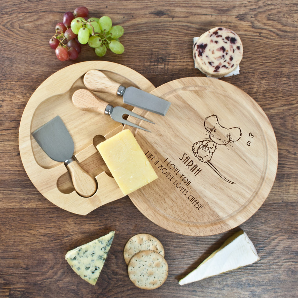 'I Love You Like A Mouse Loves Cheese' Round Cheese Board - treat-republic