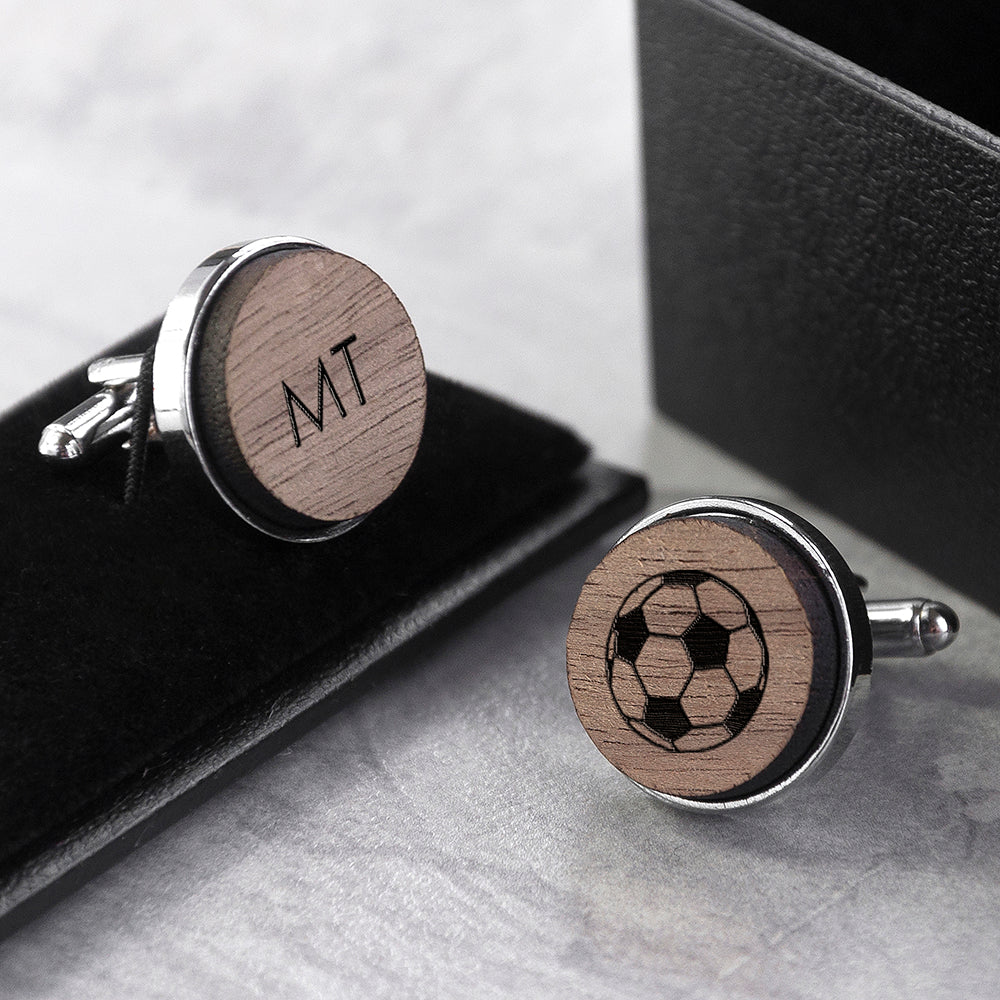 Iconic Pursuits Engraved Round Walnut Cufflinks - treat-republic