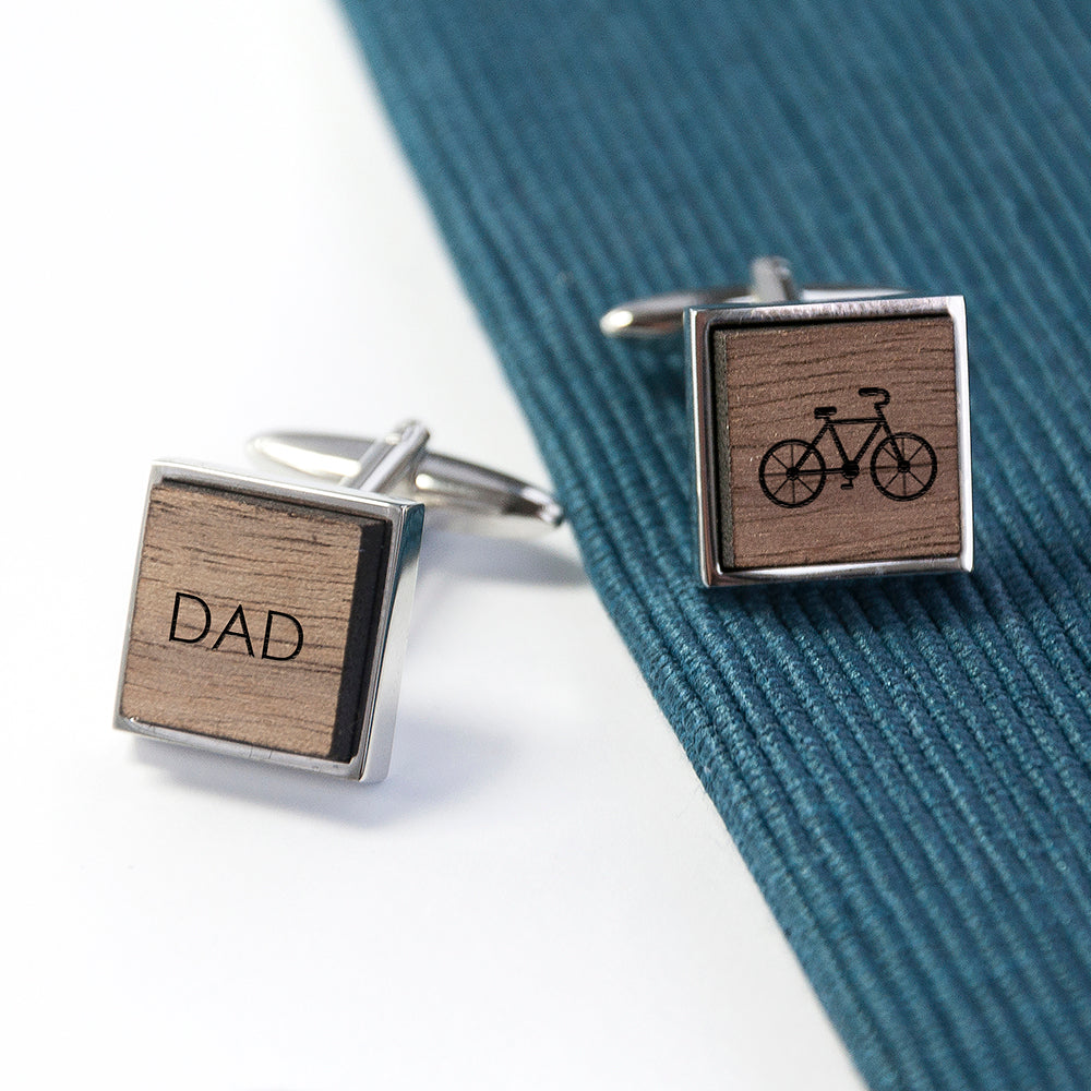 Iconic Pursuits Engraved Square Walnut Cufflinks - treat-republic