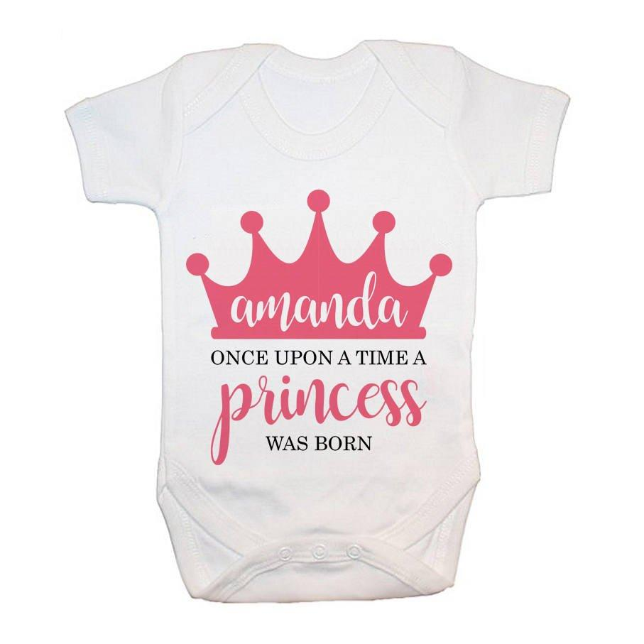 Personalised Once Upon A Time A Princess Was Born Baby Grow - treat-republic