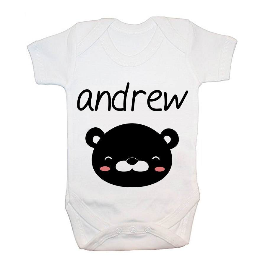 Personalised Little Bear Face Baby Grow