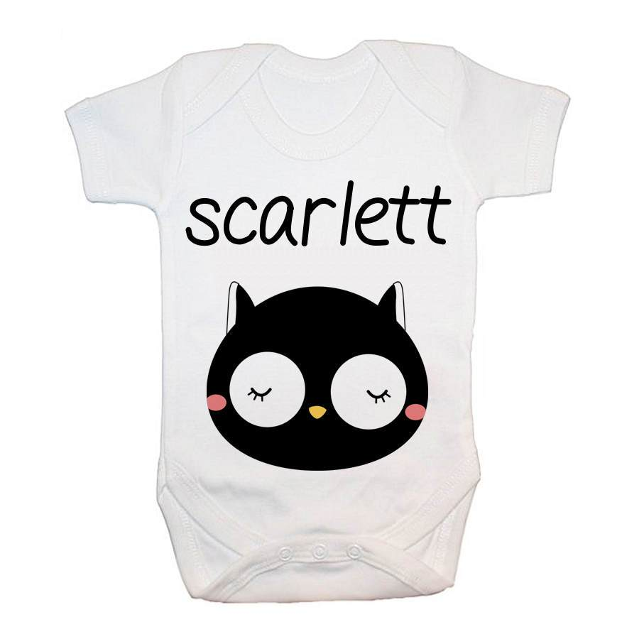Personalised Little Owl Face Baby Grow - treat-republic