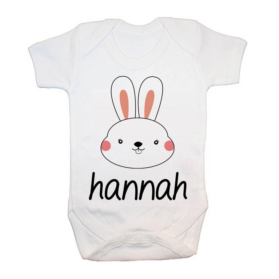 Personalised Little Bunny Face Baby Grow - treat-republic
